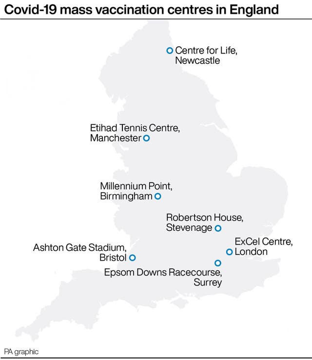 Covid-19 mass vaccination centres in England