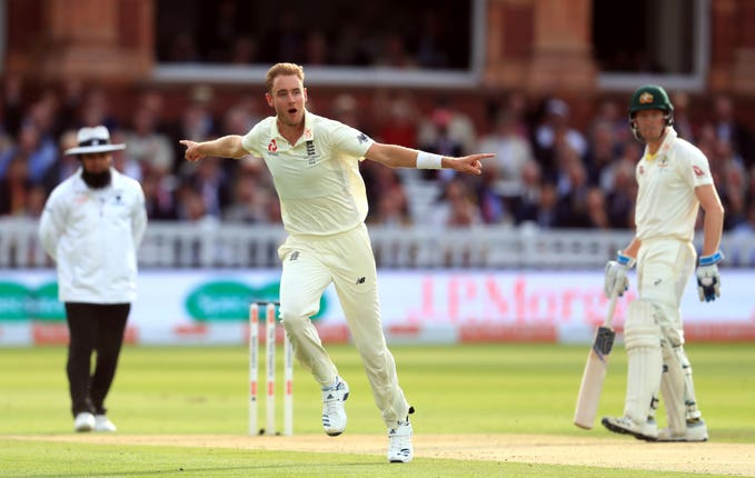 England's Stuart Broad celebrates dismissing Australia's David Warner for the third time this series