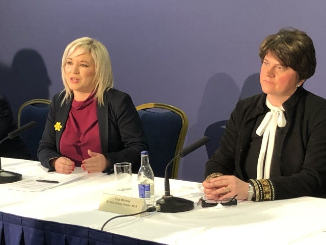 Northern Ireland Deputy First Minister Michelle O'Neill, left, and First Minister Arlene Foster
