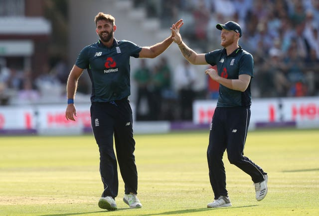 Liam Plunkett, left, celebrates a wicket with Ben Stokes