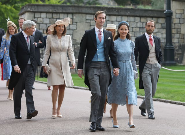 Michael and Carole Middleton with son-in-law James Matthews, his wife Pippa Middleton and her brother James