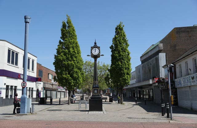 A near-deserted Waterlooville town centre in Hampshire