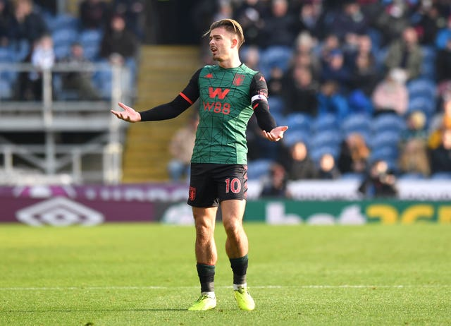 Jack Grealish reacts after his effort is ruled out