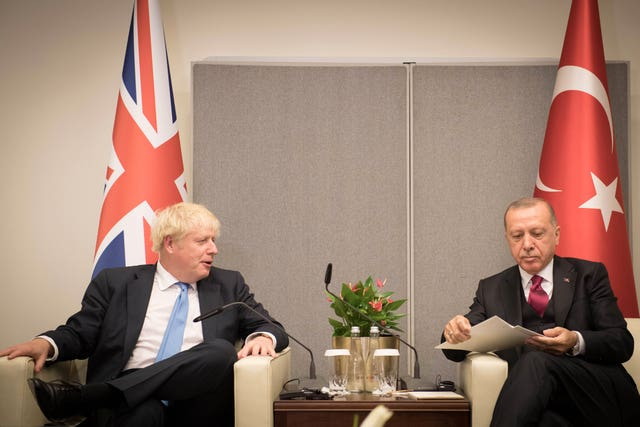 Boris Johnson and Turkish President Recep Tayyip Erdogan at the UN General Assembly