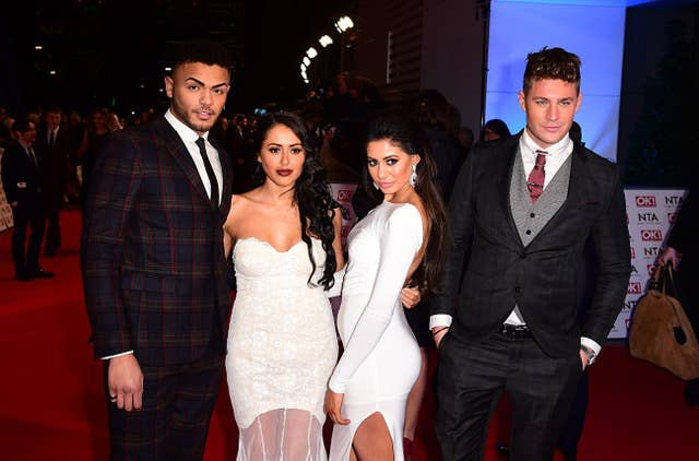 Nathan Henry, Marnie Simpson, Chloe November and Scott Timlin of Geordie Shore arriving for the 2015 National Television Awards (Ian West/PA)