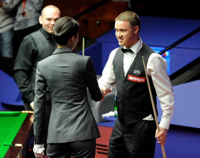 Stephen Hendry, right, marked his final World Championship appearance with a third Crucible 147