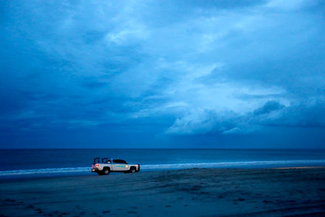 A South Carolina beach during curfew