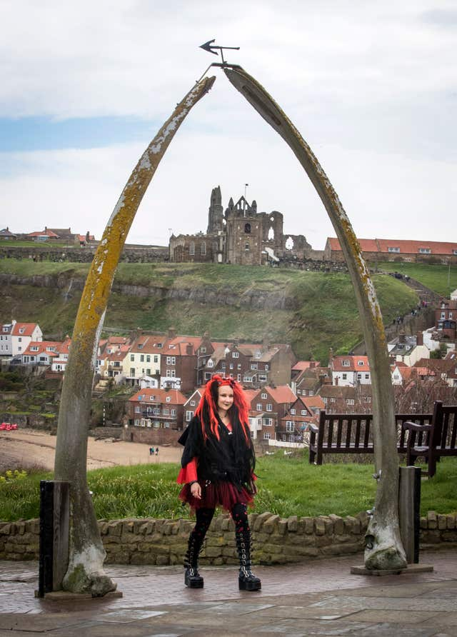 A woman attends the Whitby Goth Weekend in Whitby (Danny Lawson/PA)
