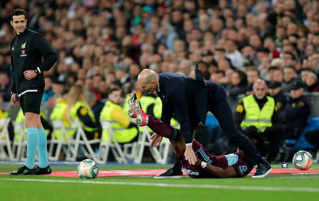 Zidane also took a tumble during the draw