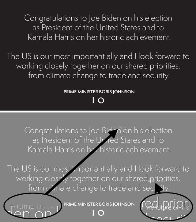 Screengrab from the official Twitter page of Prime Minister Boris Johnson of his original tweet (top) congratulating Joe Biden on his US election victory and an image optimised using Photoshop (below) showing underlying text