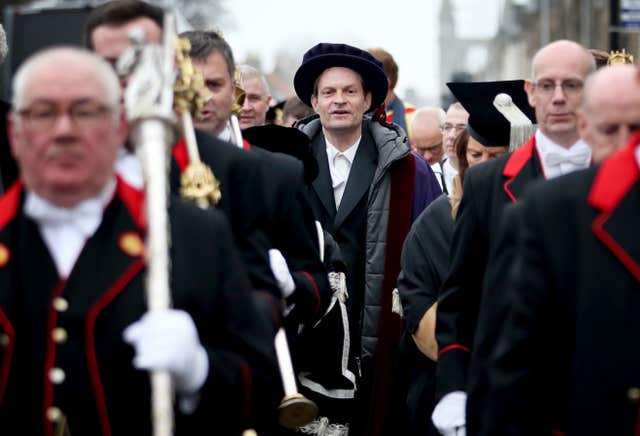 Srdja Popovic took part in a procession through the streets of St Andrews where he was installed as rector of the university (Jane Barlow/PA)