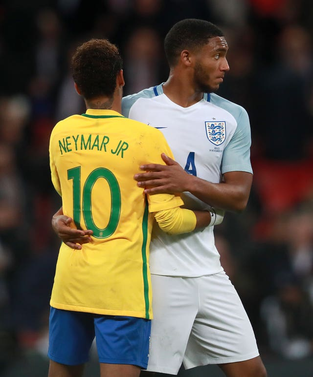 Joe Gomez (right) helped keep Brazil's Neymar (left) quiet during the goalless draw between the two nations