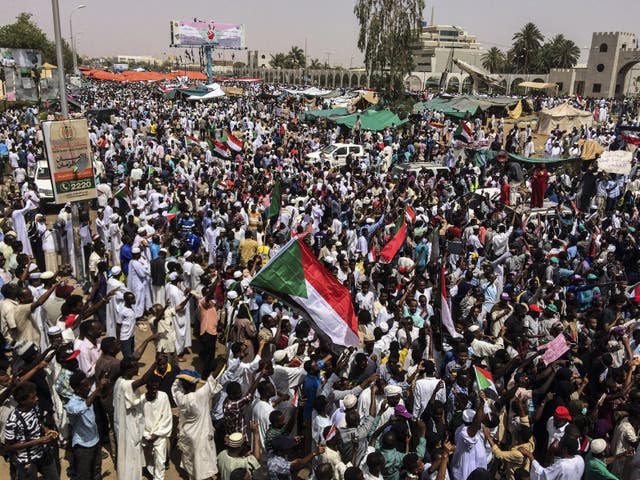 Demonstrators gather in Sudan's capital