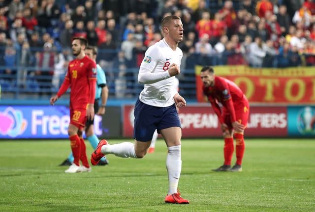 Ross Barkley celebrates the first of his goals for England against Montenegro