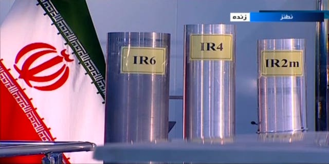Three versions of domestically-built centrifuges are shown in a live TV programme from Natanz, an Iranian uranium enrichment plant, in Iran