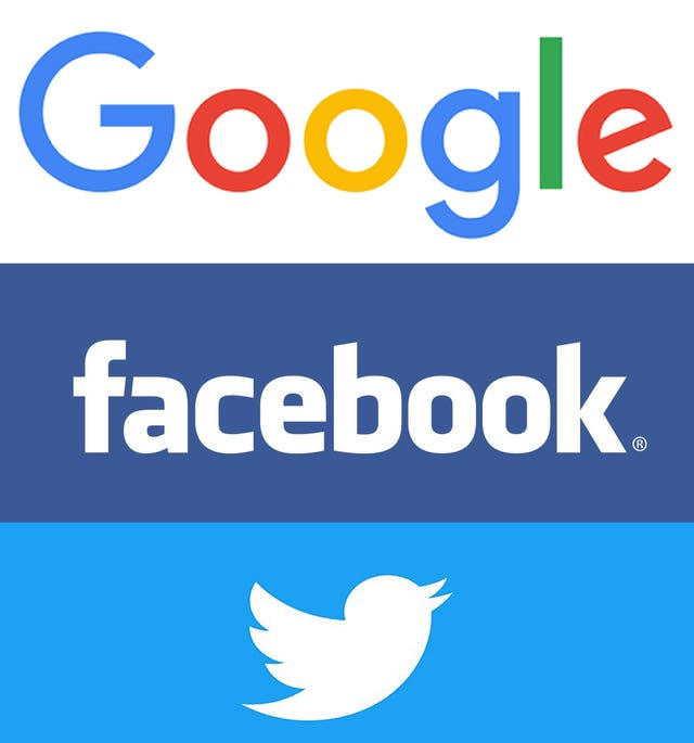 Google, Facebook and Twitter logos
