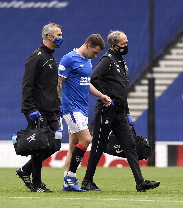 Ryan Jack goes off injured against Dundee United