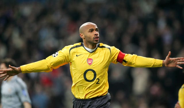Arsenal's Thierry Henry celebrates scoring against Real Madrid