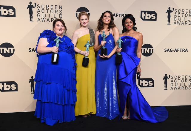 Chrissy Metz, from left, Alexandra Breckenridge, Mandy Moore, and Susan Kelechi Watson (Jordan Strauss/Invision/AP)