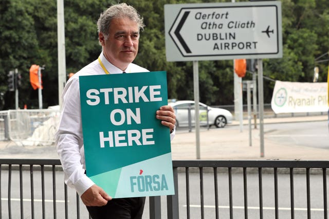 Ryanair pilots taking part in a 24-hour strike over conditions of employment