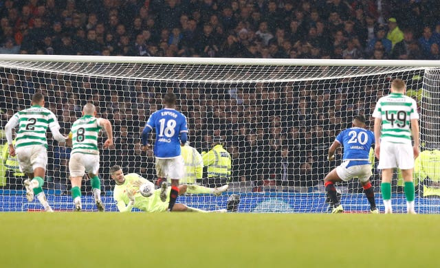 Celtic goalkeeper Fraser Forster saved Alfredo Morelos' penalty