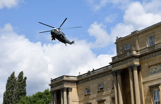 Donald Trump and his wife Melania arrive in Marine One at Buckingham Palace