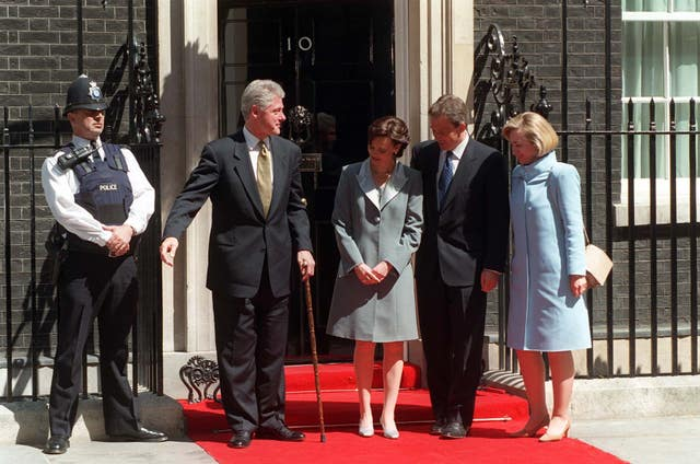 President Bill Clinton with Tony Blair, Hilary Clinton and Cherie Blair outside Number 10 Downing Street in May 1997