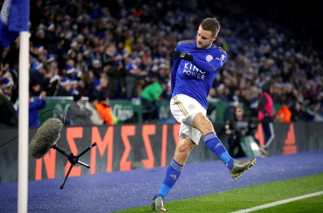 Jamie Vardy kicks a microphone stand during Leicester's draw with Norwich