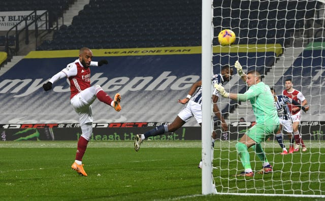 Alexandre Lacazette scores Arsenal's fourth against West Brom at The Hawthorns