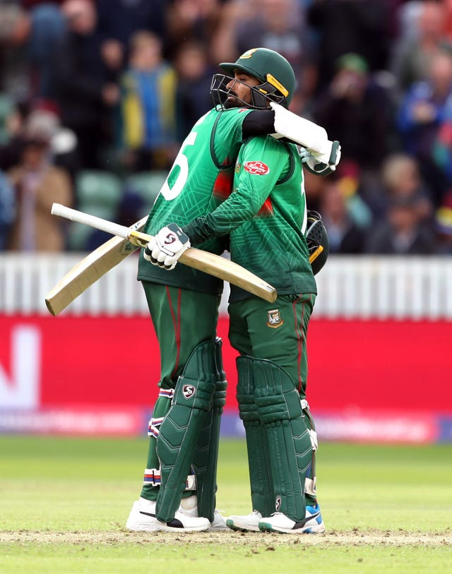 Shakib Al Hasan and Liton Das celebrate Bangladesh's first victory of the World Cup.