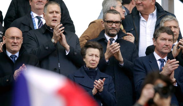 The Princess Royal, centre, was at the Stade de France