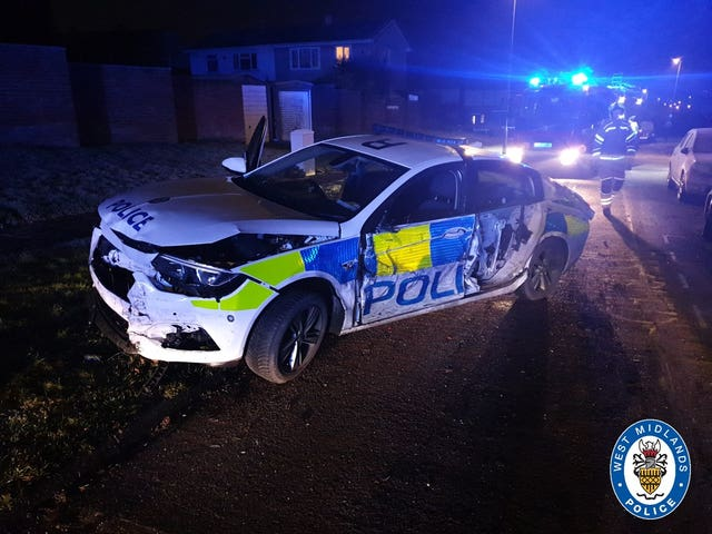 Coventry police car rammed by van