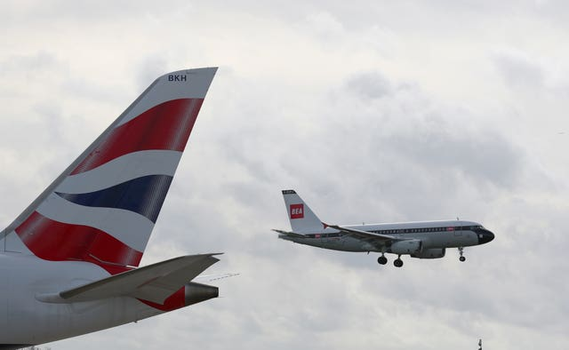 The plane arrives at London Heathrow from Shannon, Ireland (Steve Parsons/PA)