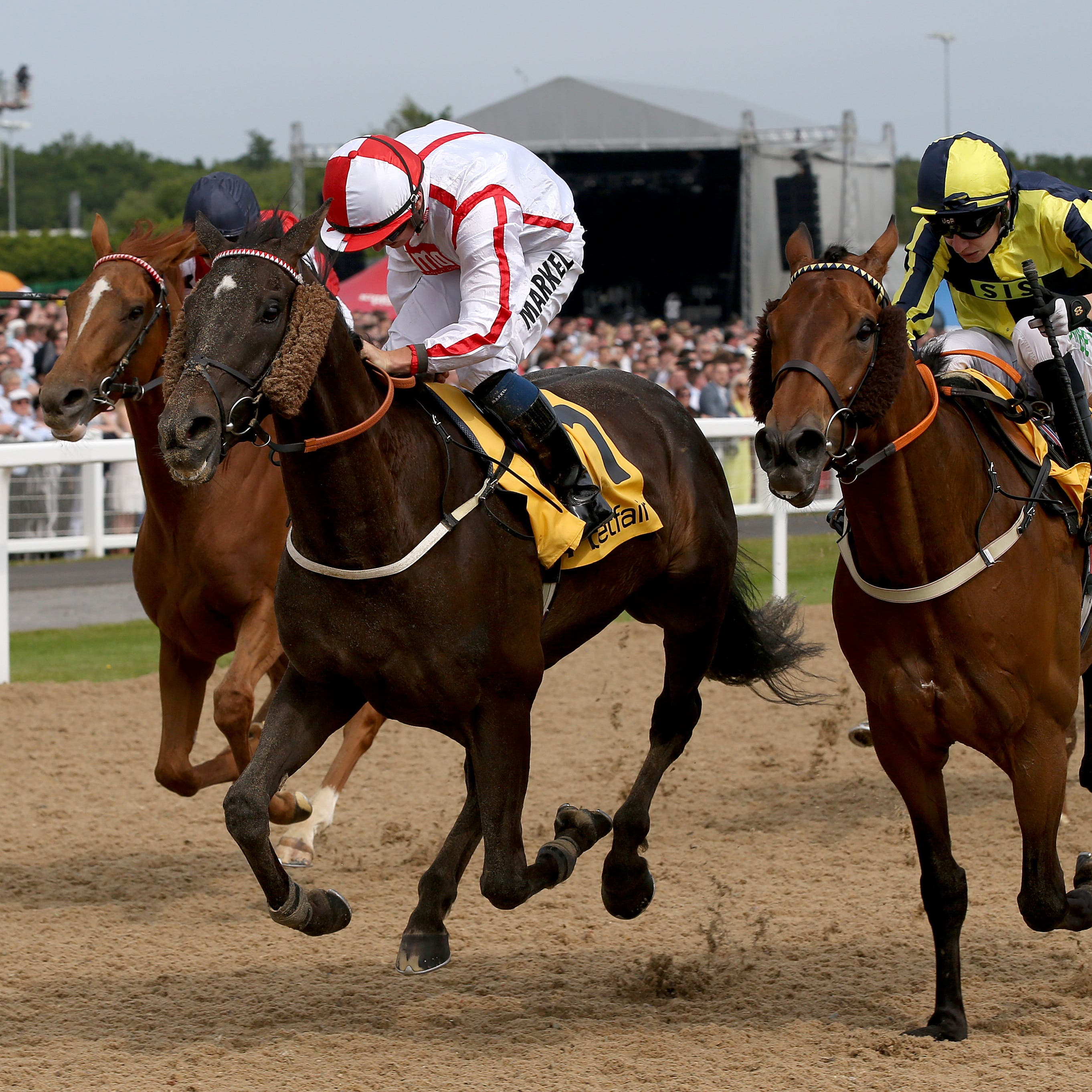 Who Dares Wins (left) winning the Northumberland Plate