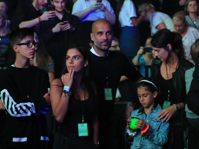 Pep Guardiola attended the 'We Are Manchester' benefit show at the re-opening of the Manchester Arena for the first time since the terror attack (Peter Byrne/PA).