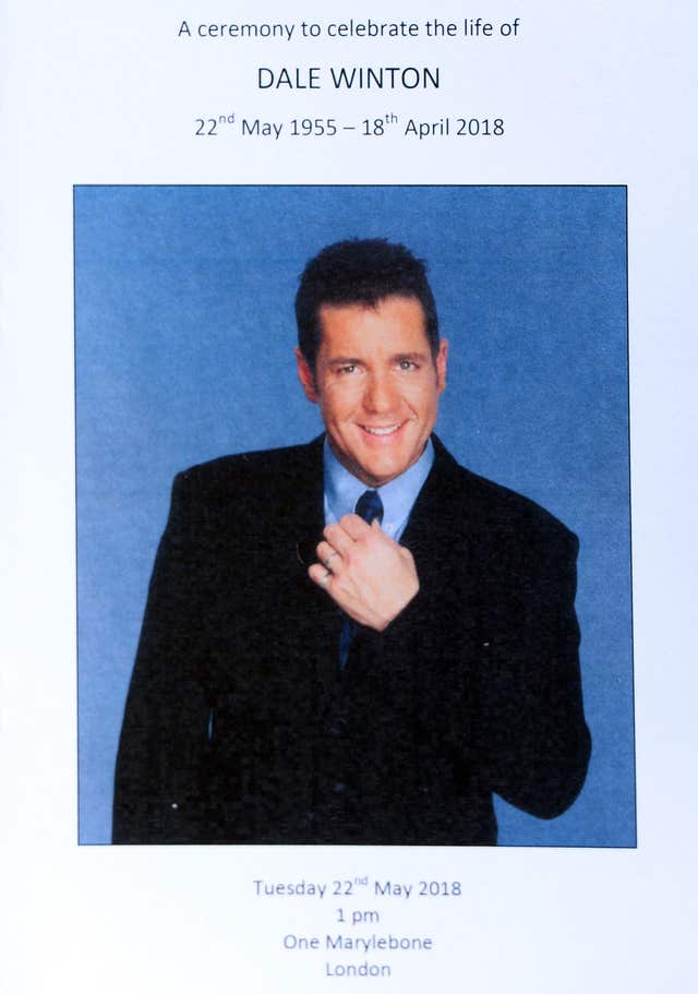 Dale Winton funeral