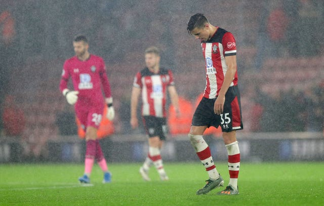 Southampton's Jan Bednarek after his side's 9-0 defeat to Leicester