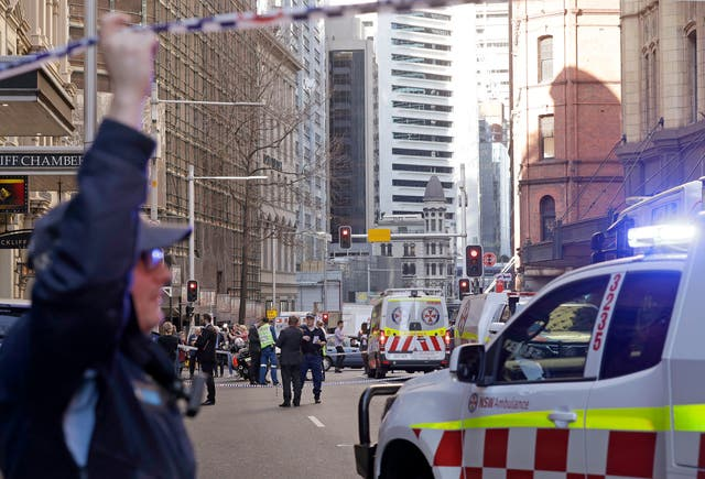 Emergency services at the scene in Sydney