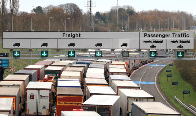 Freight lorries queueing for the Eurotunnel terminal in Folkestone