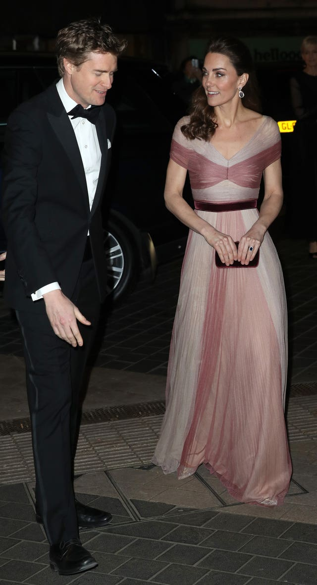 Tristram Hunt greets Kate at the beginning of the evening