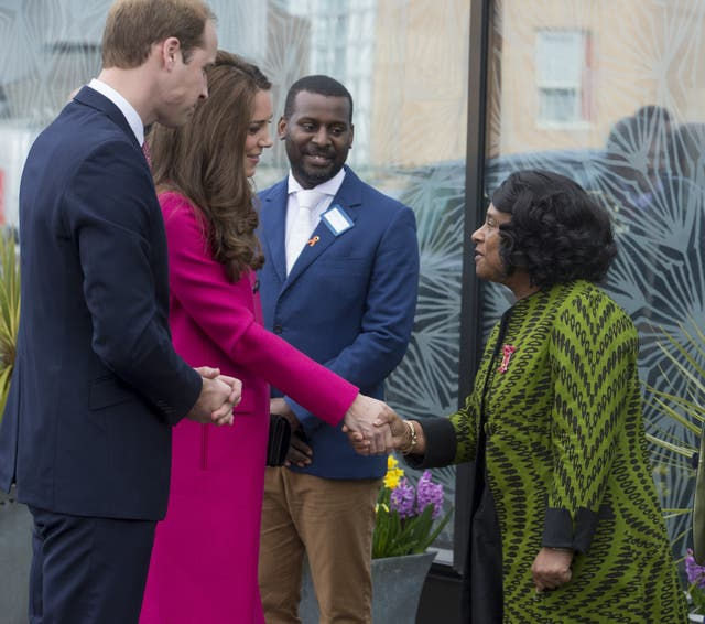 The Duke and Duchess of Cambridge meeting Baroness Doreen Lawrence and Stuart Lawrence as they arrive at the Stephen Lawrence Centre in south London (David Parker/Daily Mail/PA)