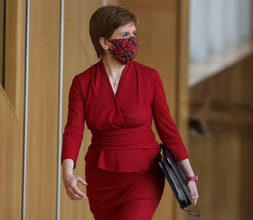 First Minister Nicola Sturgeon became embroiled after two Aberdeen players tested positive for coronavirus (Fraser Bremner/Scottish Daily Mail/PA)