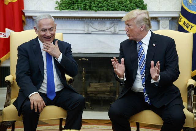 President Donald Trump meets with Israeli Prime Minister Benjamin Netanyahu in the Oval Office (Evan Vucci/AP)