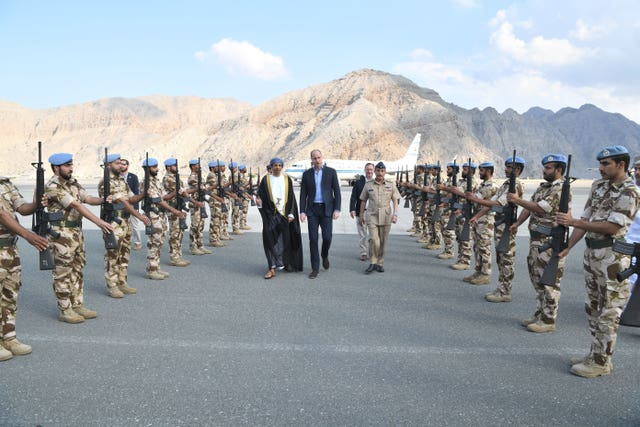 The Duke of Cambridge  arrives at Khasab Airport, Oman