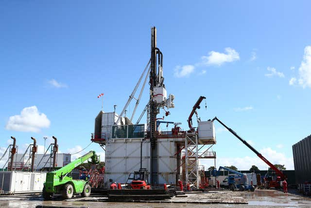File photo issued by Cuadrilla of the drilling rig at Preston New Road shale gas exploration site.