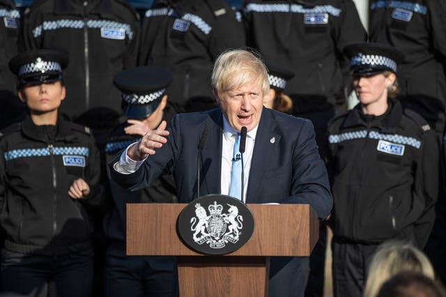 An officer became unwell as Prime Minister Boris Johnson made a speech in West Yorkshire (Danny Lawson/PA)
