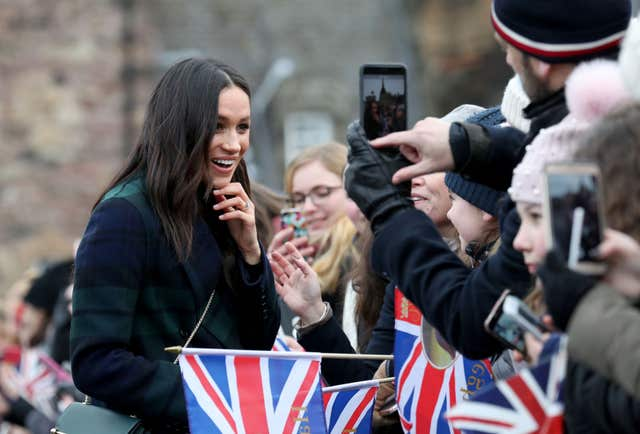 Meghan Markle during a walkabout on the esplanade at Edinburgh Castle, during a visit to Scotland. (Andrew Milligan/PA)