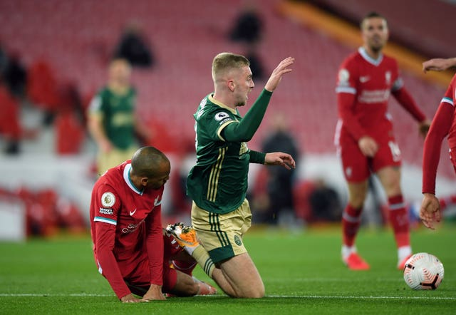 Fabinho's challenge on Oli McBurnie saw Sheffield United awarded a penalty