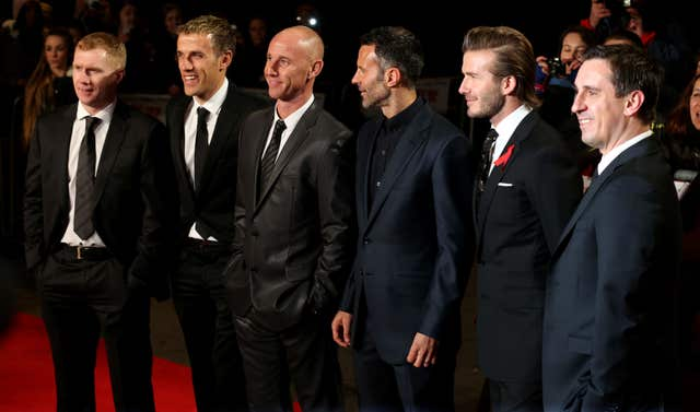 Paul Scholes, Phil Neville, Nicky Butt, Ryan Giggs, David Beckham and Gary Neville