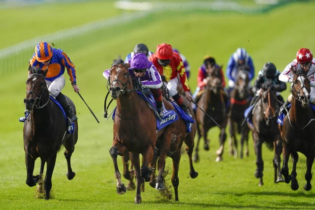 Thunder Moon (in red) was third in the Dewhurst behind St Mark's Basilica
